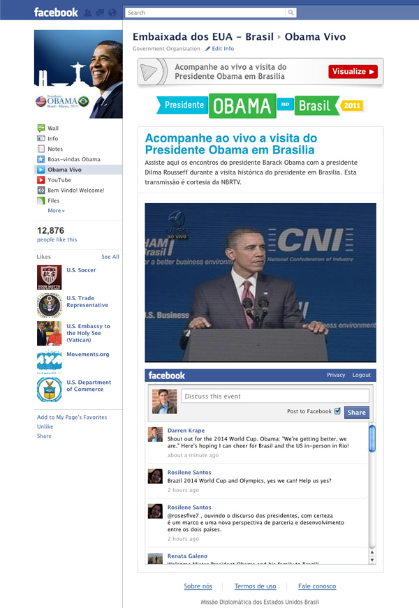 The welcome campaign Facebook application showing the live video feed of a press conference.